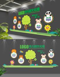 绿色卡通文化墙幼儿园形象墙