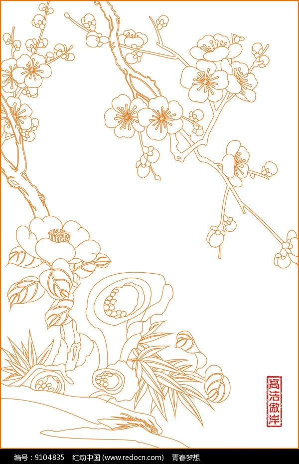 梅花线描雕刻图案图片
