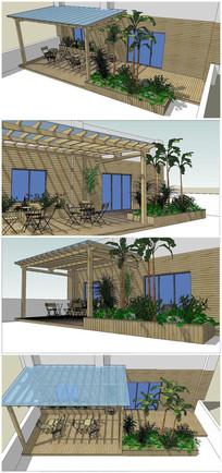 木质屋顶花园景观SU模型