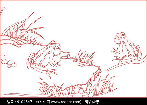 青蛙线描雕刻图案图片
