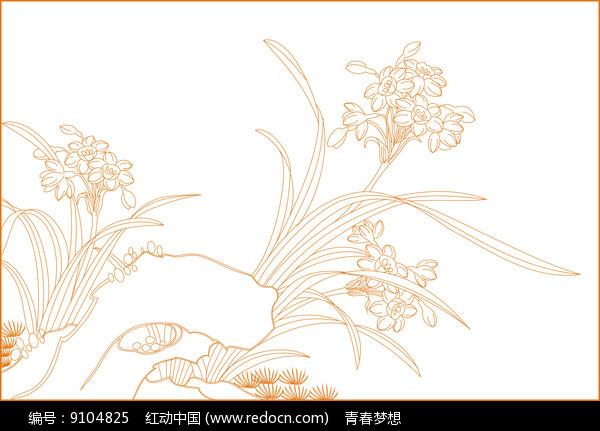 水仙花线描雕刻图案图片