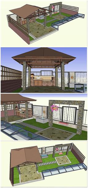 屋顶庭院景观SU模型