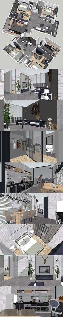 现代北欧套房设计SU模型