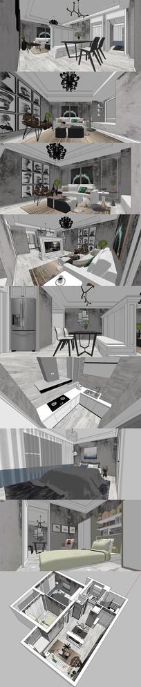 现代北欧住宅方案设计SU模型