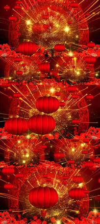 喜庆节日金色粒子光线灯笼舞台