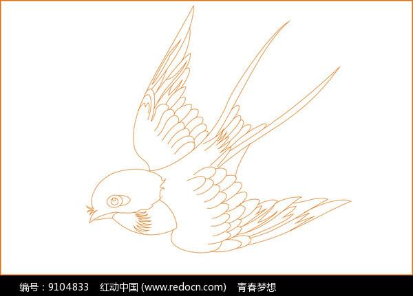 燕子线描雕刻图案图片