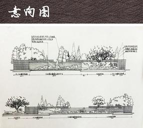 中式景墙手绘立面