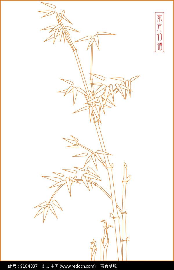 竹子线描雕刻图案图片