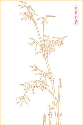 竹子线描雕刻图案