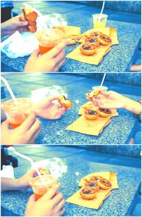 吃蛋挞炸鸡喝可乐动作特写视频