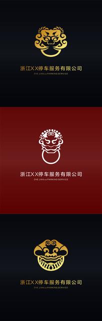 仿古大门把手神兽传统纹样logo设计