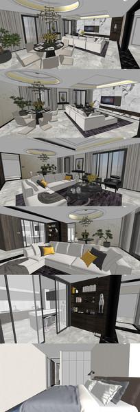 港式后现代住宅设计SU模型