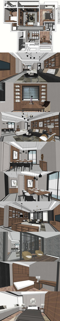 港式现代住宅室内设计SU模型