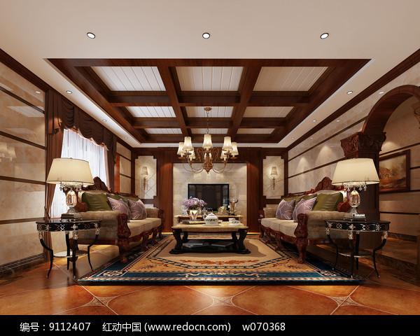 高端别墅客厅高清效果图图片