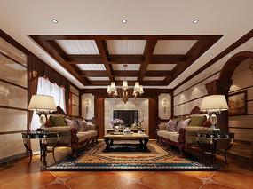高端别墅客厅高清效果图