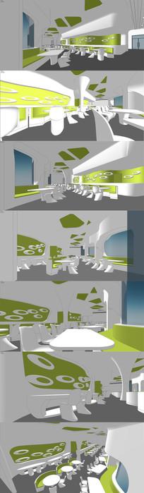 现代餐厅概念设计SU模型