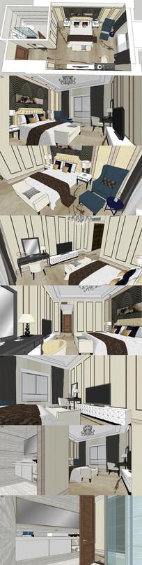新欧式酒店客房SU模型