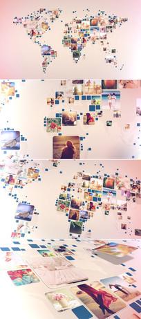 震撼图片汇聚世界地图标志ae模板