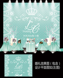 蒂芙尼蕾丝婚礼甜品台设计