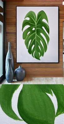 高清龟背植物油画图