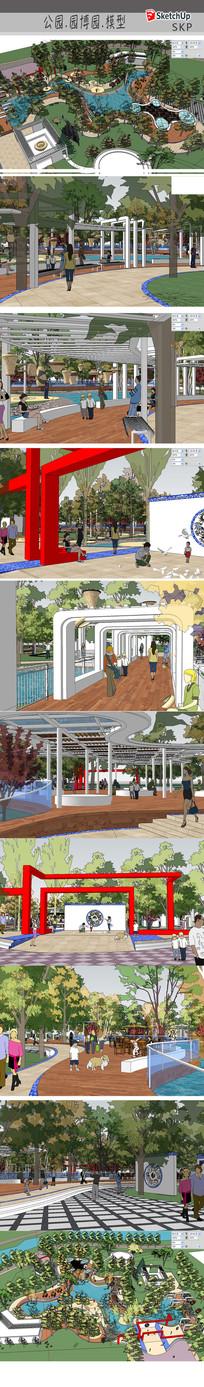 公园园林景观模型