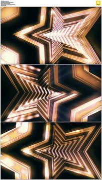 金色五角星隧道穿梭背景视频