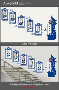 蓝色为人民服务部队楼梯文化墙