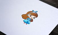 蓝色优美人物卡通形象设计
