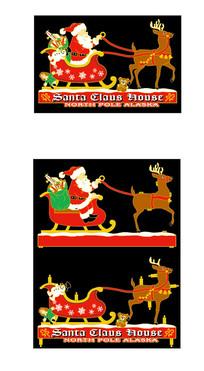 圣诞老人与八角鹿素材