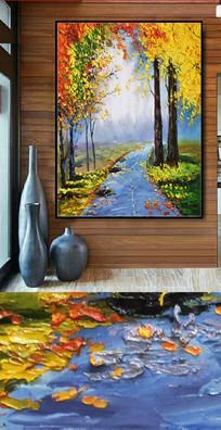 意境山水风景油画图
