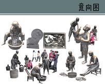 铸铜雕塑素材 PSD