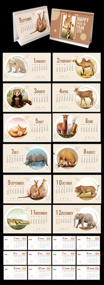 2018年动物世界台历模板