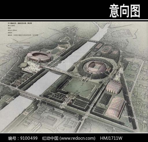 奥林匹克公园手绘图图片