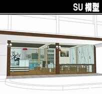 白色简约咖啡厅SU模型