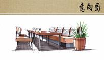 餐厅餐桌马克笔手绘