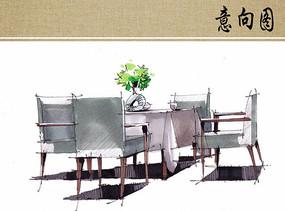 餐厅桌椅上色手绘