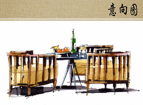 茶室餐桌手绘