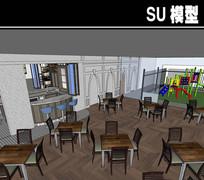 带儿童游玩区咖啡厅SU模型