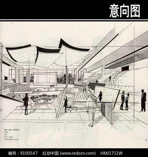 东方音乐厅内部手绘图图片