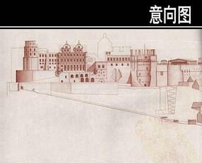 海德尔堡宫手绘图