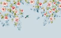 简约花鸟新中式背景墙