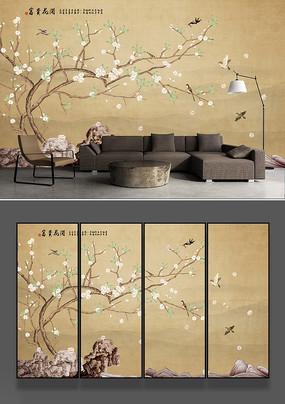 梨花工笔花鸟电视背景墙
