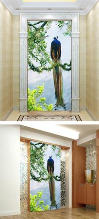 梦幻森林孔雀玄关壁画