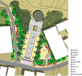 墓地广场彩色平面图