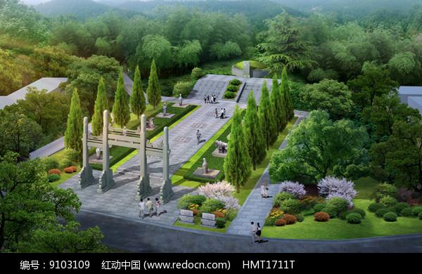 原创设计稿 效果图库/视频展示 其它 墓地广场鸟瞰效果图 请您分享图片