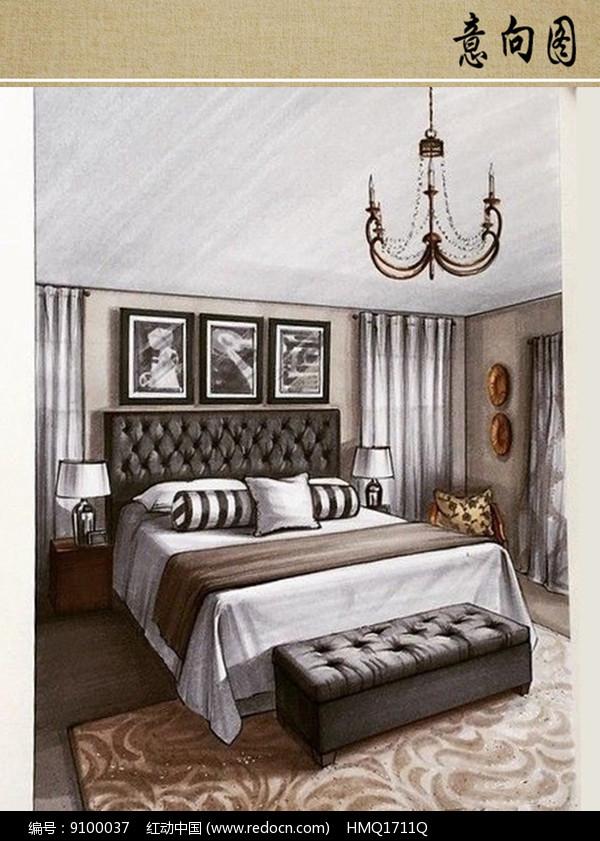 欧式床手绘图片