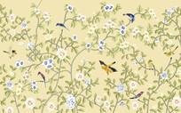 清新韩式花鸟背景墙