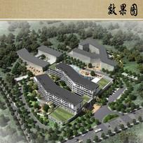 社会福利院建筑设计鸟瞰图
