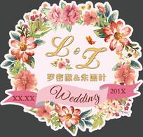 手绘花小清新婚礼LOGO牌