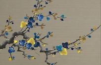 手绘山水花鸟背景墙